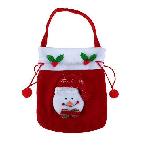 - Whitelotous Christmas Embroidered Gift Handbag Candy Drawstring Bags Santa Sack Christmas Decor(Snowman)