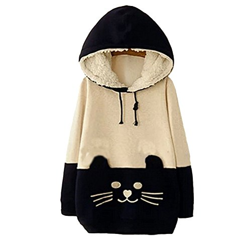 Chairay Woman Girls Sen Female Sweater Cartoon Cat Fleece Import