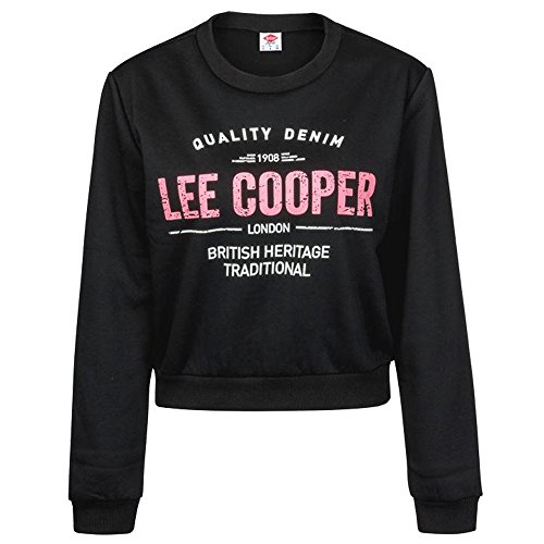 Lee Cooper Femmes Crop Polaire Sweater Col Rond Sweat Noir S