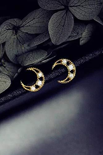 Light Refined Luxury 14k Gold-fine Zirconium Stone Moon s925 Silver Stud Earrings earings Dangler Eardrop Mini Women Girls Earrings Sweet