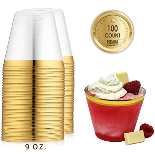 100 Best Gold Plastic Cups 9 oz Clear Disposable Drinking Cups Old Fashioned Tumblers Gold Rimmed Cups Wedding Party Cups with Gold Rim Gold Plastic Wine Glasses Cocktail Party Cups