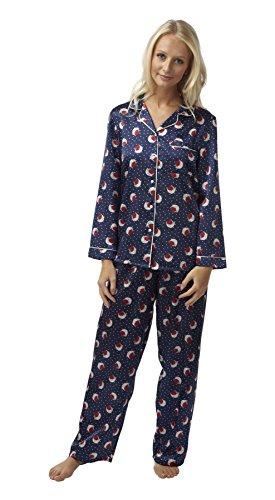 Mujeres damas ropa de dormir ropa de noche Robin impresión satén manga larga pijama Juego Set, varios colores y tamaños Marina de guerra