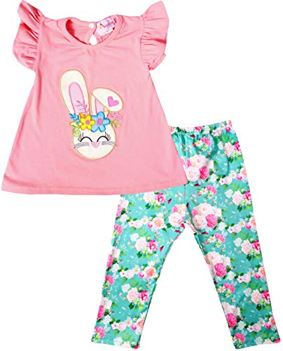 Boutique Baby Infant Girls Easter Bunny Vintage Floral Top Leggings Set Salmon Pink Floral 6-12M/3XS -