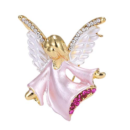 (Connie Cloris Women Crystal Angel Brooch Pin (Pink - Angel - A04) )
