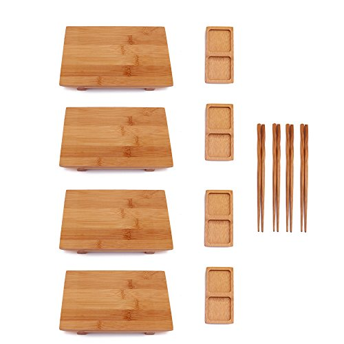 (BambooMN Bamboo Sushi Board Tray, Chopsticks and Compartment Sauce Dish, 8.3