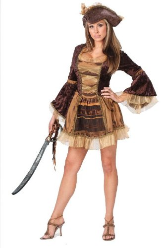 Sassy Victorian Pirate Costume - Medium/Large - Dress Size 10-14 (Sassy Pirate Costume)