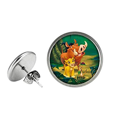 The Lion King Post Stud Silvertone Premium Quality Earrings TV Movies Classic Cartoons Simba Nala Scar Mufasa Timon -