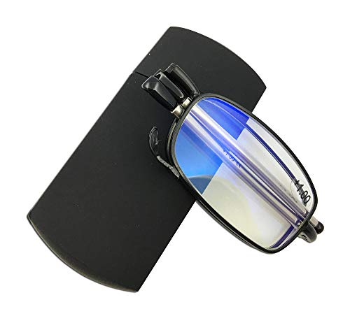 Blue Light Blocking Compact Folding Reading Glasses with Case Foldable Pocket Readers +2.00