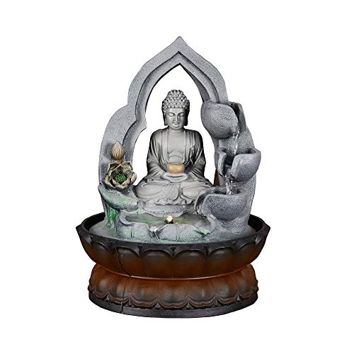 Buddha Tabletop Fountain - SunJet Sitting Buddha Fountain Fengshui Indoor Decoration - Zen Meditation Tabletop Decorative Waterfall Kit with Submersible Pump for Office and Home Decor (11