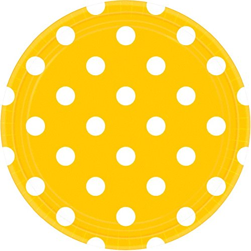 amscan Yellow Sunshine Dots Round Plates | 9'' | 8 Ct.