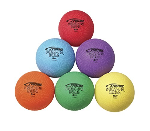 Sportime Poly Playground Balls - 8 1/2 inch - Set of 6 - Red, Yellow, Blue, Green, Orange, (Poly Set Green)