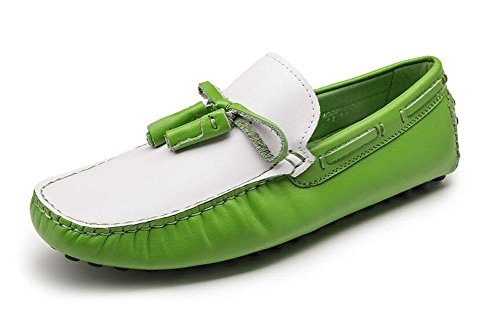 Männer Slip-On Oxford Schuhe Sommer Hosen Schuhe Breathable Leder echte Fahrschuhen Weiche Leder Flats Casual Schuhe , green , 44