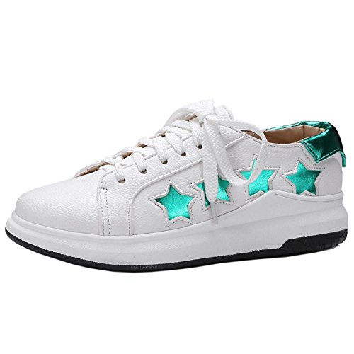 TAOFFEN Up Shoes Lace White Women's 4RwvfqH