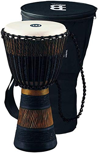 Djembe Stand Percussion (Meinl Percussion Djembe, African Style Finish Mahogany Made in CHINA-10 Medium Size Rope Tuned Goat Skin Head, 2-Year Warranty, Wood/Brown (ADJ3-M+Bag))