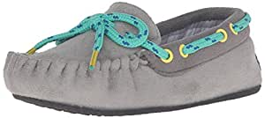 Trimfit Boys' Grey With Plaid Lining Mocassin Shoe Moccasin Grey/Blue 11/12 M US Little Kid