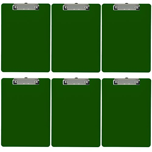 (Trade Quest Plastic Clipboard Opaque Color Letter Size Low Profile Clip (Pack of 6) (Green))