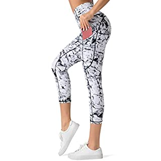 Dragon Fit High Waist Yoga Capri Leggings with 3 Pockets,Tummy Control Workout Running 4 Way Stretch Yoga Pants (Large, Capri29-Marble)