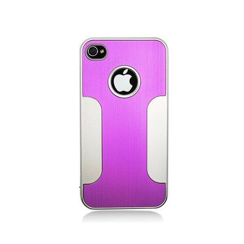 Aimo Wireless Premium Chrome Aluminum Hard Case for Apple iPhone 4/4G/4S - Non-Retail Packaging - Purple/White