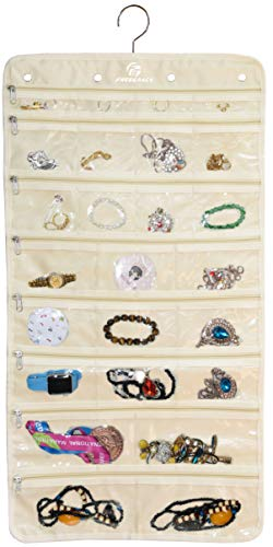 Freegrace Premium Hanging Jewelry Organizer Revolving Hanger - Secure Zipper Closure - 50 Pockets/Two-Side Pockets - Foldable Storage & Display Solution Jewelry & Bijoux - Beige