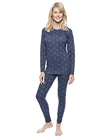Women's Extreme Cold Waffle Knit Thermal Set - Aztec Navy/Teal - XS