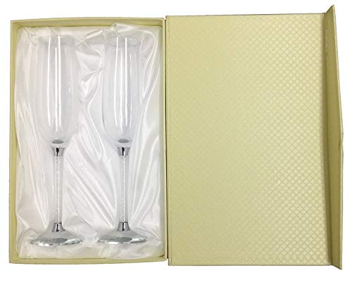 Amlong Crystal Wedding Champagne Flutes Set of 2 Glasses