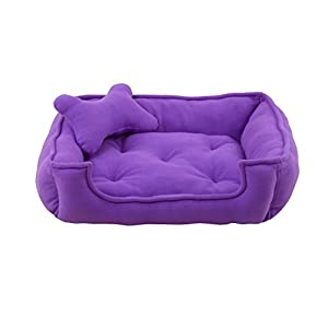 Fluffy's Luxurious Reversible Polyester Filled Soft Dog and Cat Bed, Purple (Small)