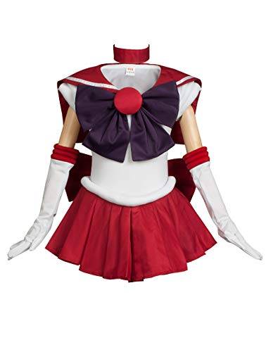 Cosfun Girls Pretty Sailor Mars Hino Rei Cosplay Costume k-mp000570 (Kid 3XS(Height: 130cm))