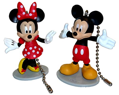 Deluxe Mickey Mouse & Minnie Mouse Ceiling Fan Pull Set (Nickel)