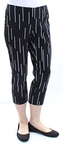 Alfani Womens Printed Linear Dashes Cotton Blend Tummy Control Cropped Pants, 8 Black
