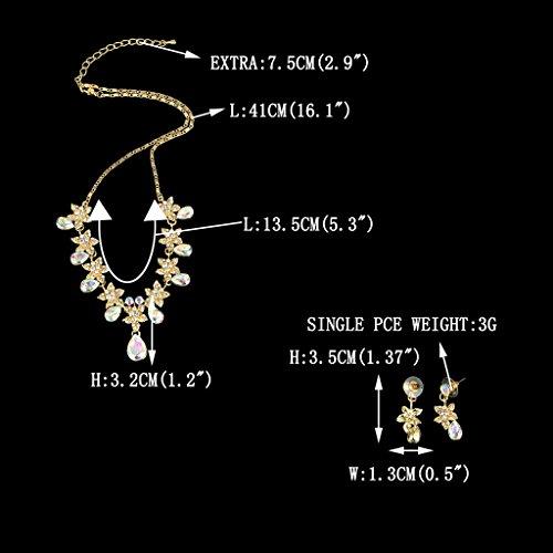 EVER FAITH® Hibiscus Larme Cristal Collier Boucle d'Oreilles Parures Ton d'Or - Clair Coloré N03857-9
