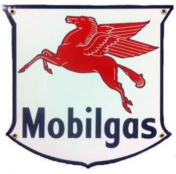 Mobil Gas Shield Porcelain Sign