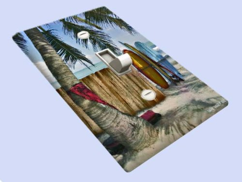 Surfing Switchplate (Surfboards on the Beach Decorative Switchplate Cover)
