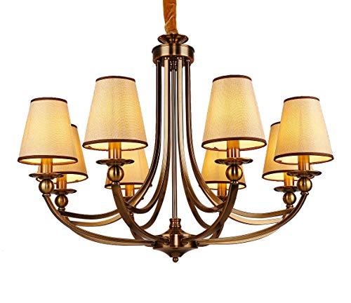 Aiwen 8 Lights Chandelier Brushed Brass Williamsburg Candle Chandelier Ceiling Lighting Pendant Lights H26