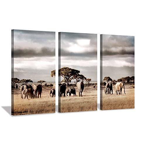 Wildlife Artwork Animal Picture Print: Herd of Elephants Art Print on Canvas for Wall