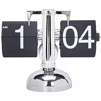 Digital Retro Clock Flip Down Internal Gear Operated Single Stand Clock (Black)