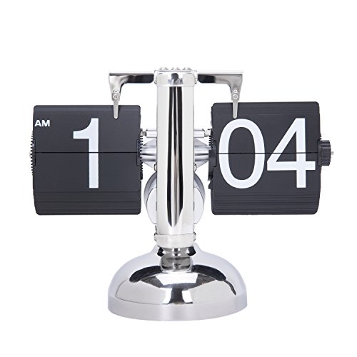Digital Retro Clock Flip Down Internal Gear Operated Single Stand Clock(Black)