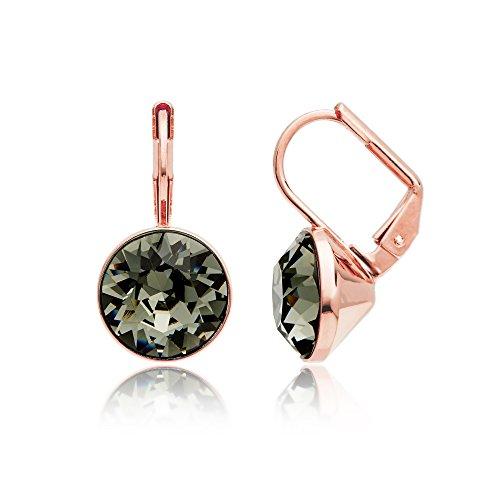 (MYJS Bella Earrings with 4 Carat Swarovski Black Diamond Crystals Rose Gold Pt)