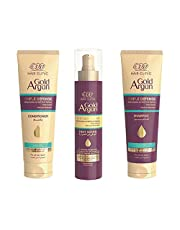 Eva Hair Clinic Triple Defense Shampoo, Conditioner and Heat Guard Spray with Gold and Argan Oil