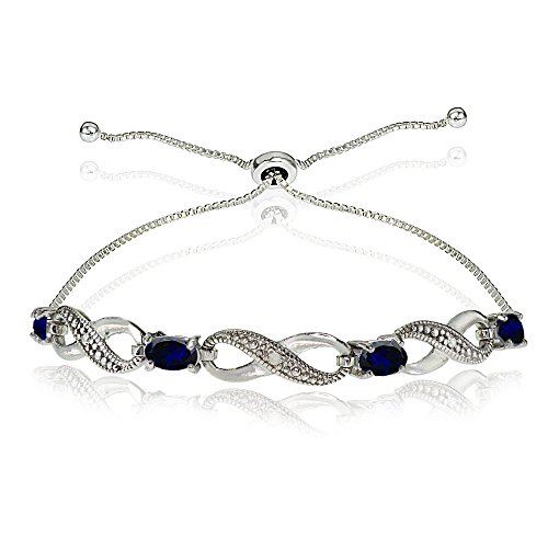 - Sterling Silver Created Blue Sapphire Figure 8 Infinity Adjustable Bolo Bracelet
