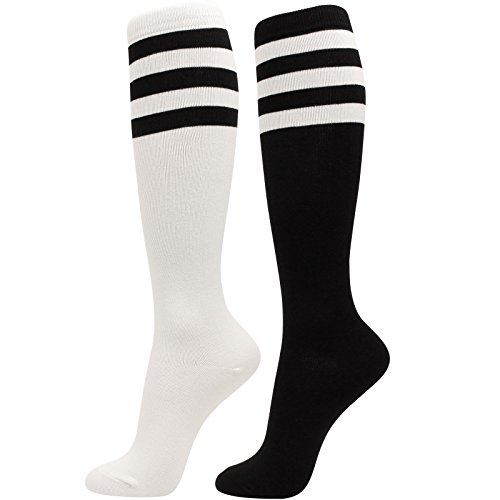 (WOWFOOT Girl Knee High Socks Soft Cotton Colorful Pattern Design For Women Summer or Winter ,R-triple Stripes 2pair(black,white),One Size)