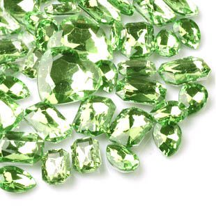 LOVEKITTY ® 30 Pcs Light Green Cut back Mixed Sizes Rhinestone Gems --- by lovekitty Hello Kitty Gems