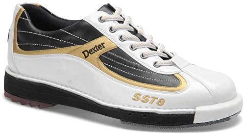 Herren Bowlingschuhe Dexter SST8 mit Wechselsohlen/-Hacken weiß/schwarz/gold (US 8.5)