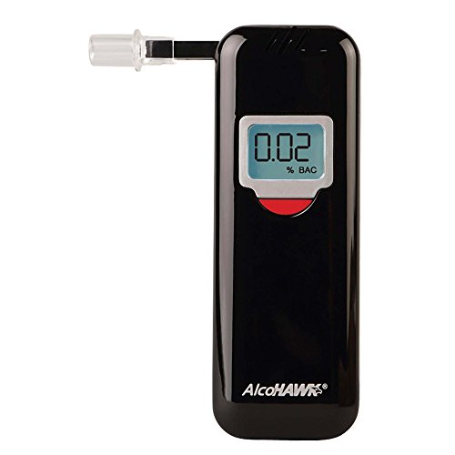 (AlcoHAWK Elite Slim Breathalyzer, Semi-Conductor Sensor Breath Alcohol Tester Portable Personal use Alcohol Detector, Accurate and Fast Results, BAC Tracker Digital LCD Screen Includes 3 Mouthpieces)