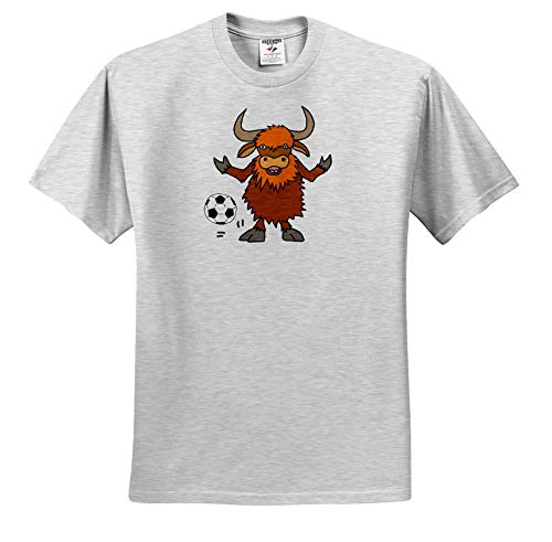 All Smiles Art Sports and Hobbies - Cute Funny Yak Playing Soccer or Football Cartoon - T-Shirts - Toddler Birch-Gray-T-Shirt (3T) (ts_288112_32) ()