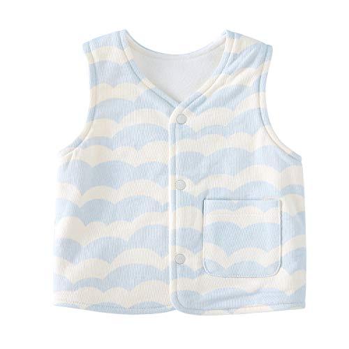 pureborn Baby Warm Jacket Sleeveless Cotton Cute Toddler Reversible Vest Spring Children Waistcoat Wave Blue 1-2 Years