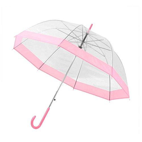 QIANNVSHEN NEW Plastic Transparent Umbrella Rain Sunny Women Long Handle Birdcage Dome See Through Umbrellas pink (See Through Patio Umbrella)
