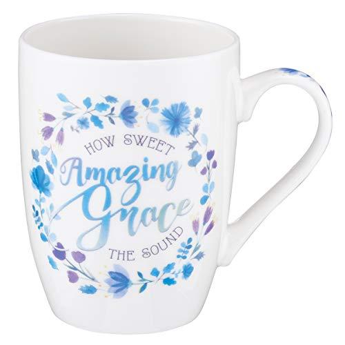 Blue Floral Amazing Grace Coffee Mug ()