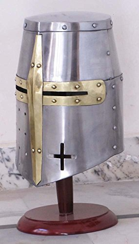 THORINSTRUMENTS (with device) Medieval Templar Crusader Knight Armor Helmet With Wooden Stand Greek Spartan Roman