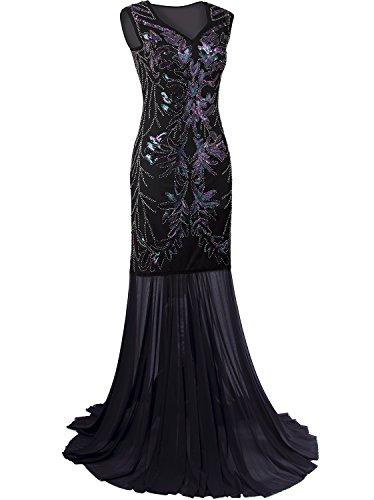 A Gatsby Abito Lunghi Abiti Prom Con Paillettes Vijiv Perline Maxi V Scollo 1920 Sera Da Nero nzqTwHSx