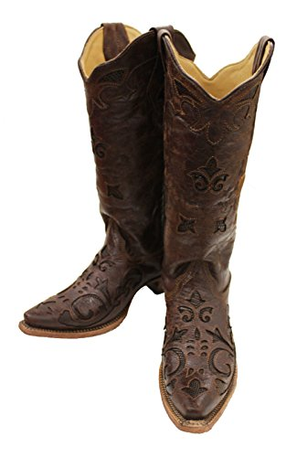 Corral Women's Brown Vintage Lizard Inlay Snip Toe Cowgirl Boots C2692
